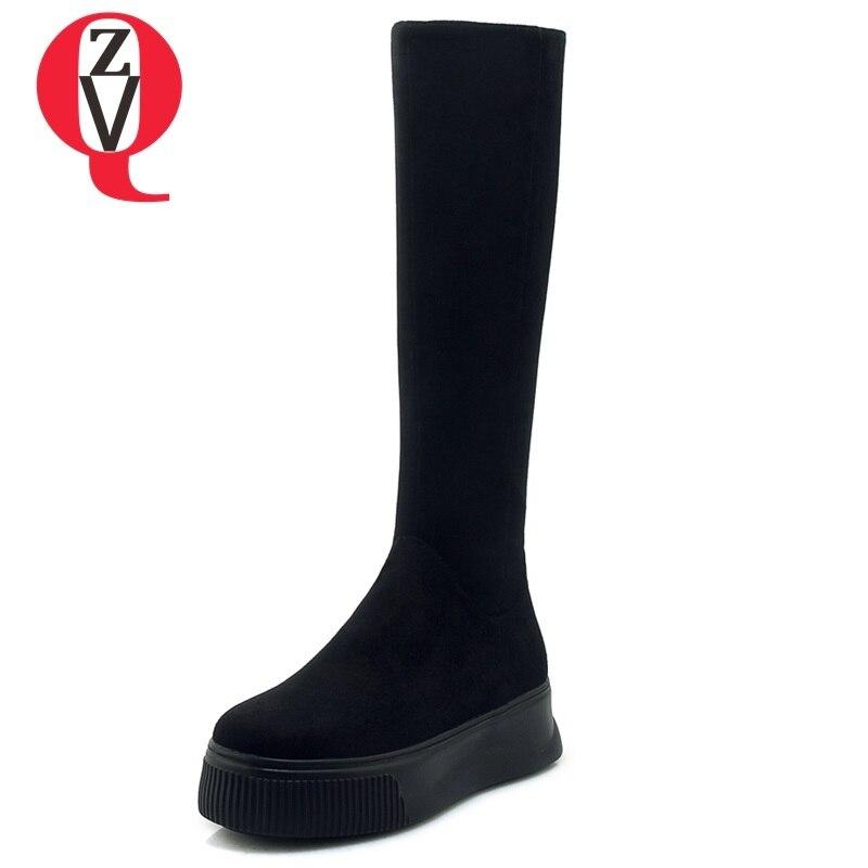 39 Plataforma Black Las Invierno Negro De Cremallera Tamaño Conciso Dedo 34 Rodilla Gamuza Con Zvq Cuñas Redondo 2018 Mujeres Botas Del Zapatos Pie Nuevo La gqwFZ