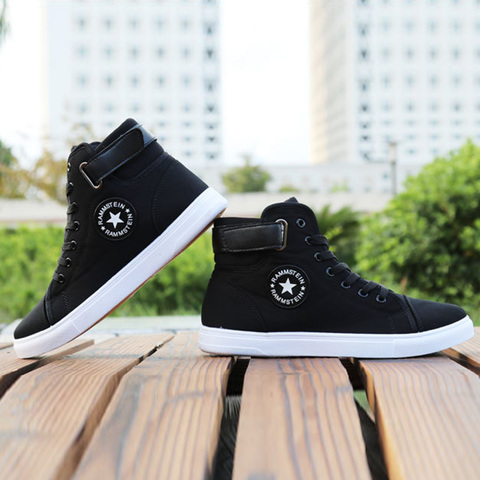 Mens High-top Canvas Shoes Men 2019 New Spring Autumn Top Fashion Sneakers Lace-up High Style Solid Colors Man Black Shoes KA853 Islamabad