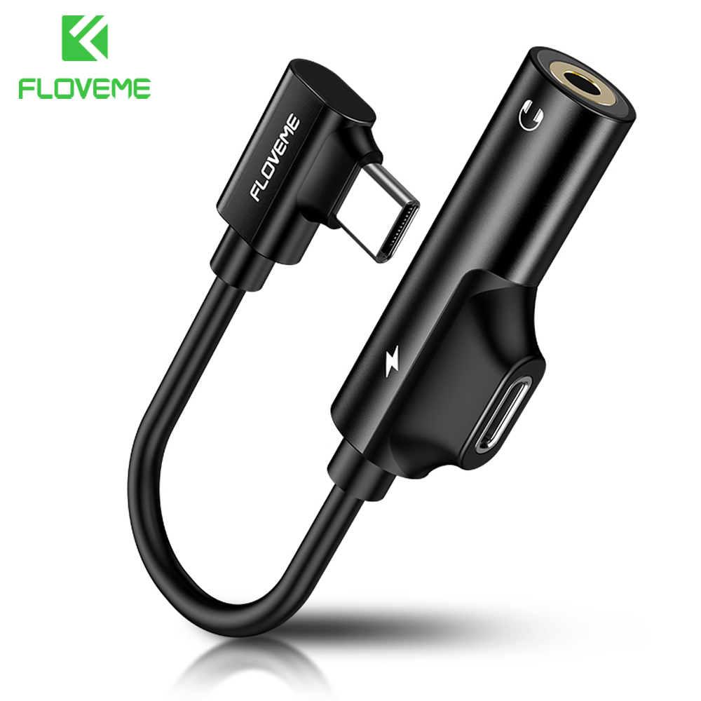 FLOVEME 2 In 1 USB Type C To 3.5mm Headphone Jack Adapter For Samsung Huawei P20 Pro Aux Audio Charger Adapter For Xiaomi 6 Mi 8