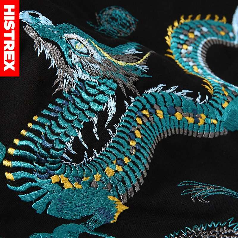 Image 5 - 100 Cotton HISTREX Hoodie Men 2019 Japanese Style Embroidery  Chinese Dragon Harajuku Hip Hop Hoody Sweatshirt Streetwear MensHoodies