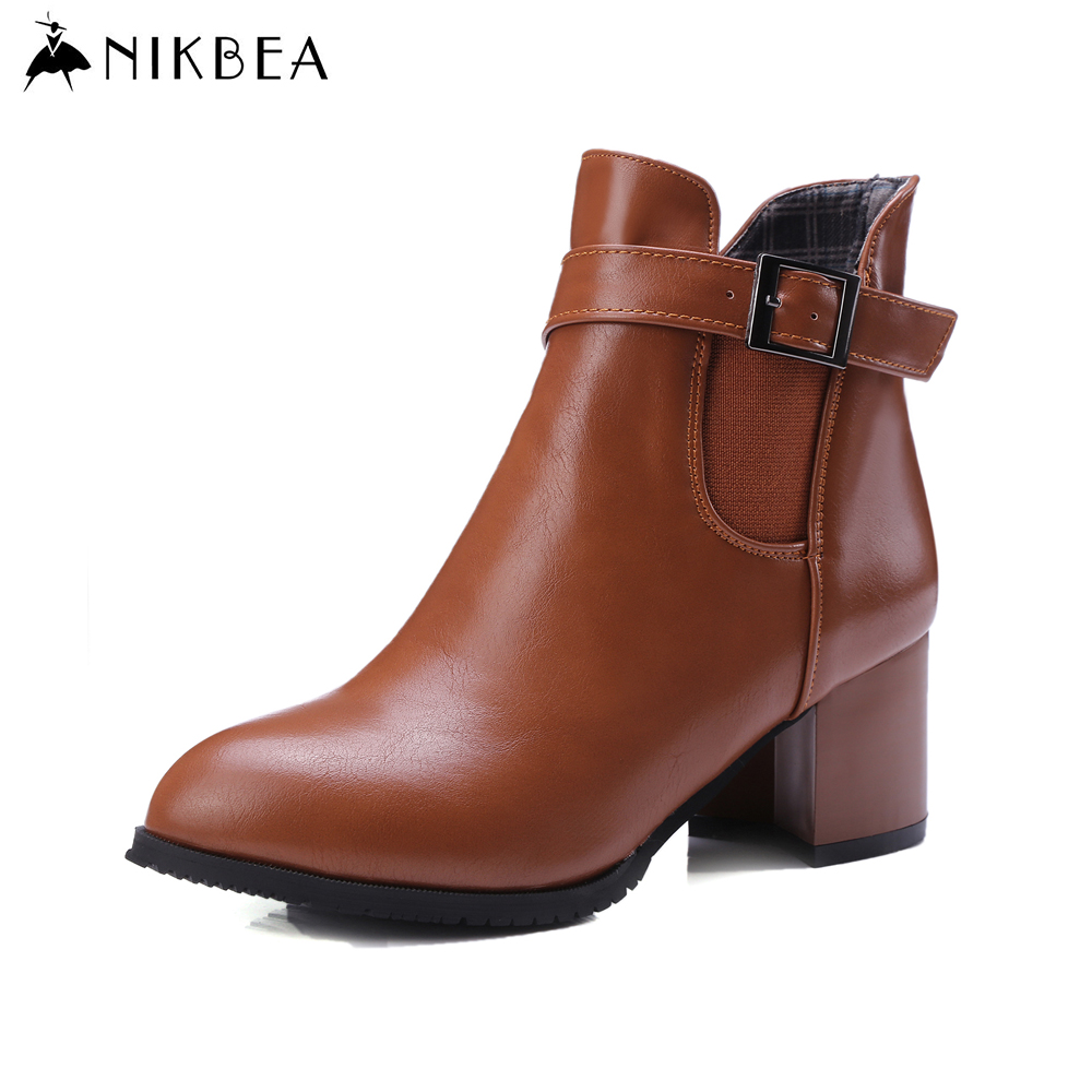 2016 Nikbea Winter Ankle Boots for Women Large Size Leather Boots Ladies Pu Leather Booties Brand Chunky Heel Black/brown/red nikbea vintage western boots cowboy ankle boots for women pointed toe boots winter 2016 autumn shoes pu chunky low heel booties