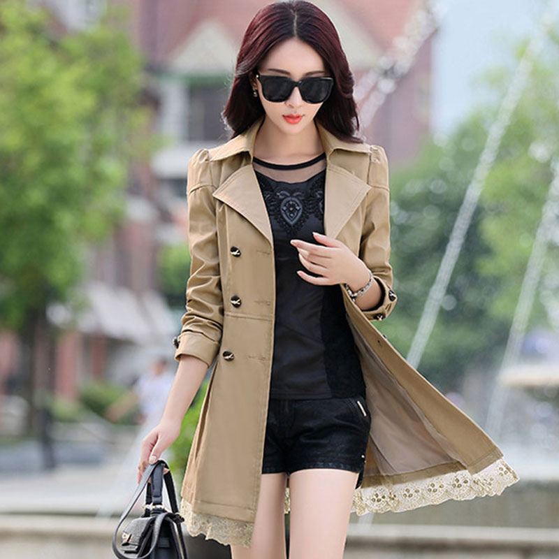 Trench Coat Women Double-Breasted Trenchcoat Lace Female Autumn Casual Coats Windbreaker Outwear Plus Size Raincoat Hot A015-1
