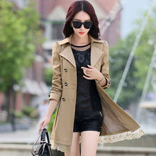 Trench Coat Women Double-Breasted Trenchcoat Lace Female Autumn Casual Coats Windbreaker Outwear Plus Size Raincoat Hot A015-1(China)