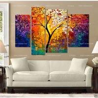 100% handmade tree knife Oil Painting art artwork painted decoration painting large living room 4pcs/set framed art