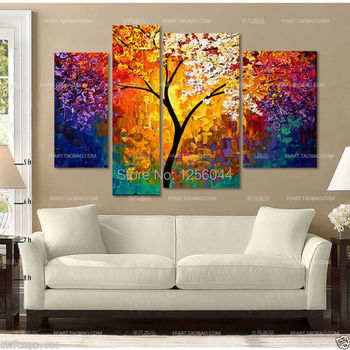 100% handmade tree knife Oil Painting art artwork painted decoration painting large living room 4pcs/set framed art