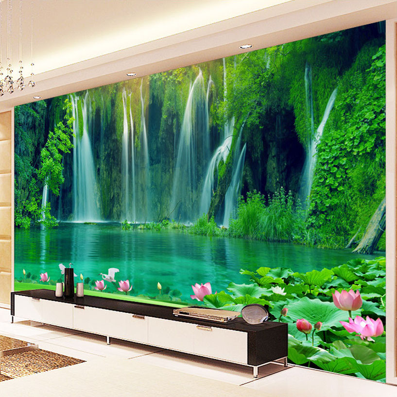Custom Photo Wall Paper 3D Waterfall Landscape Painting Living Room TV Backdrop Mural Non-woven Fabric Wall Covering Wallpaper custom 3d stereoscopic large mural wallpaper wall paper living room tv backdrop of chinese landscape painting style classic