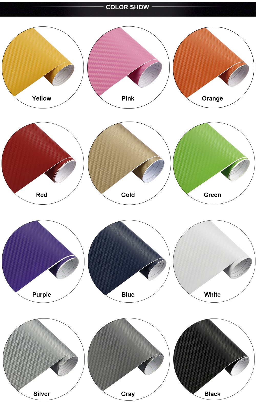 30cmx127cm 3D Carbon Fiber Vinyl Car Wrap Sheet Roll Film Car stickers and Decals Motorcycle Car Styling Accessories Automobiles 22