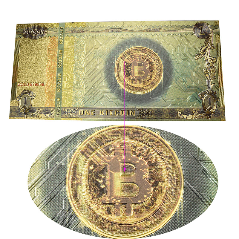 Hot One Bitcoin Banknote Gold Foil BTC Bitcoin coin Plastic cards For Collection-2