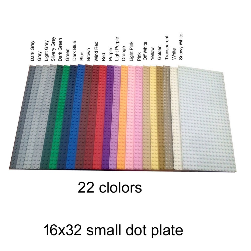 22 colors item 3857 baseplate 16x32 dot for MOC city street DIY Building Block Super heroes castle knights