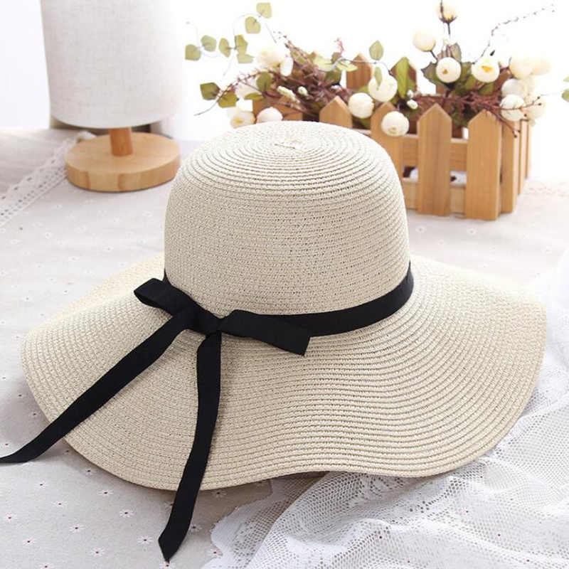 03189d43cce7a summer straw hat women big wide brim beach hat sun hat foldable sun block  UV protection