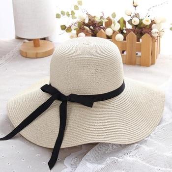 4c2ecfd67125a Chapéu de palha das mulheres de verão grande aba larga praia chapéu chapéu  de sol chapéu de sol dobrável proteção UV bloco chapéu panamá chapeu osso  ...