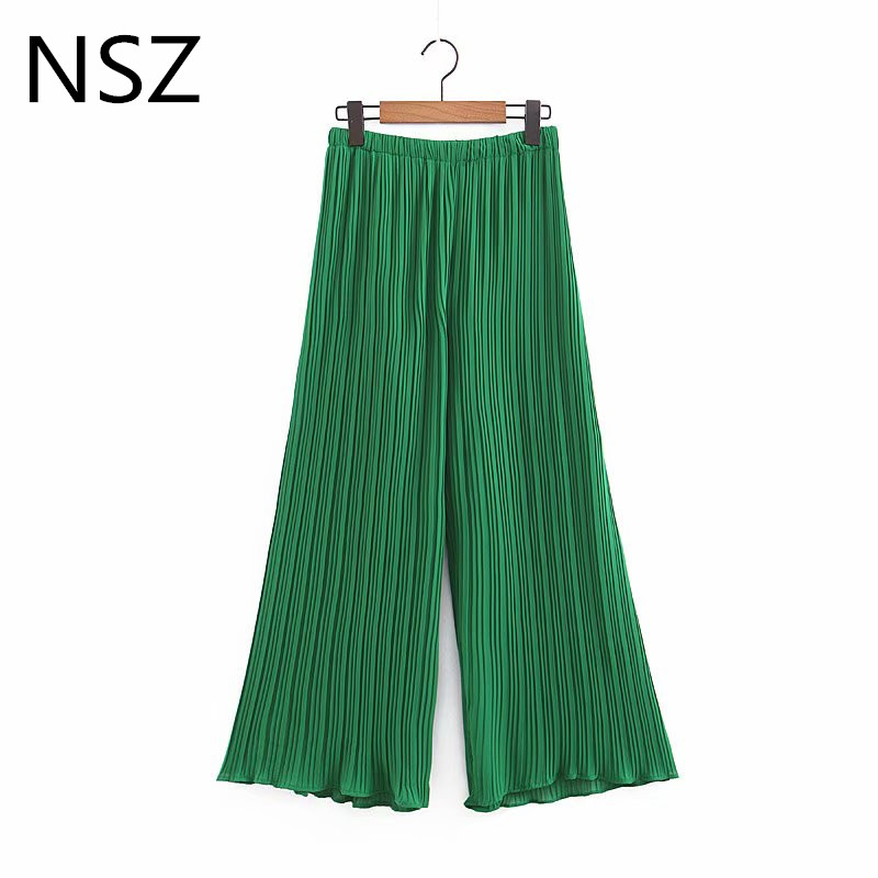 NSZ Women Green Pleated   Wide     Leg     Pant   Elastic Waist Loose Casual Summer   Pant   Trousers