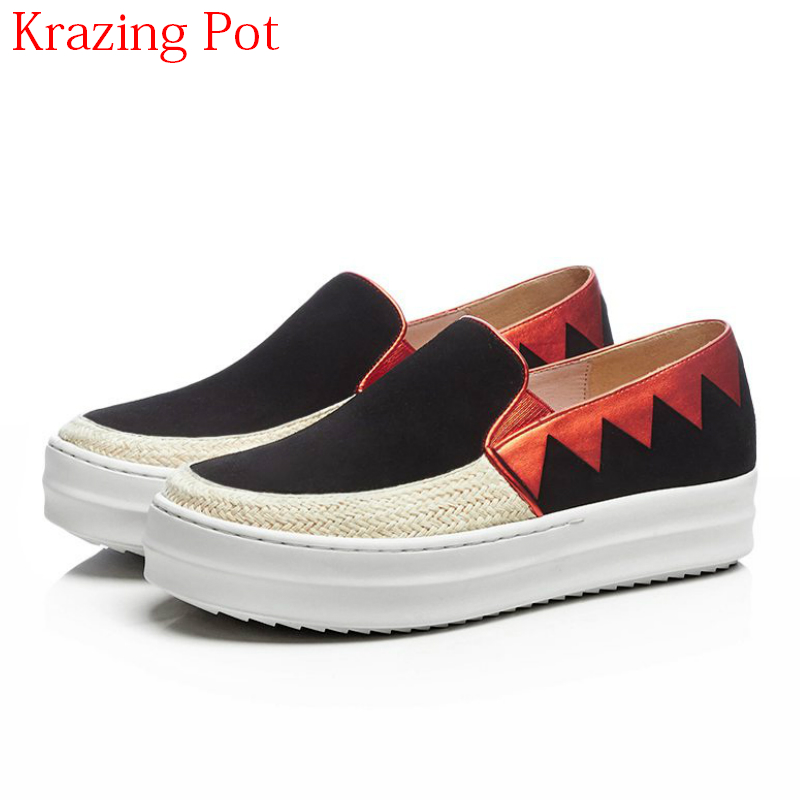 2018 Superstar Thick Bottom Cow Suede Round Toe Sneaker Mixed Colors Slip on Causal Shoes Loafer Platform Vulcanized Shoes L7f6