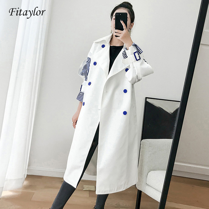 Fitaylor Striped   Trench   Coat Women Windbreaker Lapel Slim Spring Autumn Striped Patchwork Windbreakers Coat Streetwear Clothes