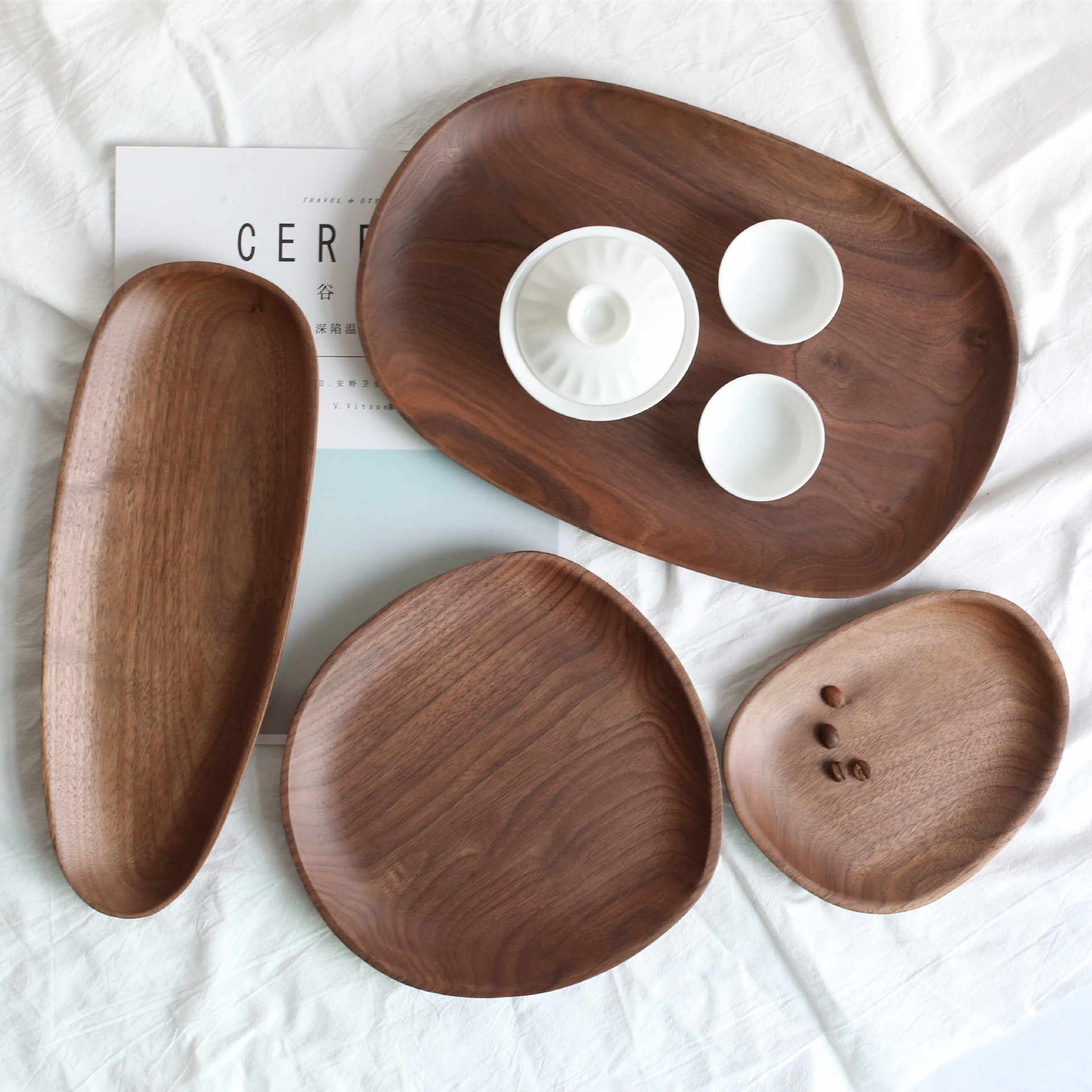 Irregular Oval Black Walnut Wood Pan Plate Fruit Dishes Saucer Tea Tray Dessert Dinner Plate Storage Trays Tableware Set