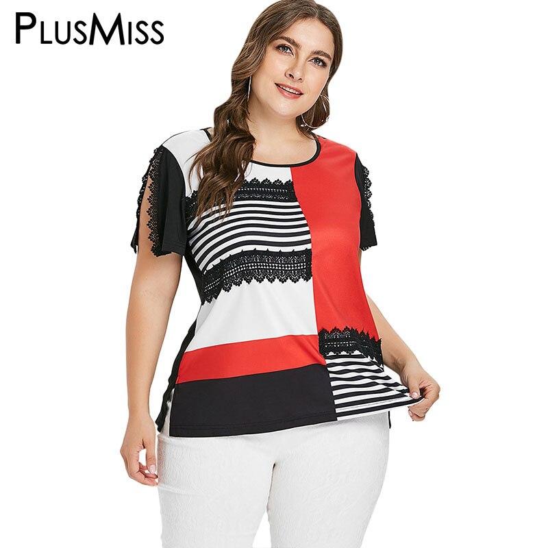 9e7ebf92452 PlusMiss Plus Size 5XL Striped Lace Patchwork Casual T Shirts Women Large  Size Short Sleeve Tops