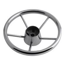 Премиум Прочный лодка рулевое колесо серебро Нержавеющая сталь 5 спиц 25 градусов 3/4 ''вал для морской яхты