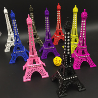 Color with Diamond Paris Tower 9.8InchesTopper,Statue Figurine Replica Drawing Room Table Decor Jewelry Stand Holder for Cake