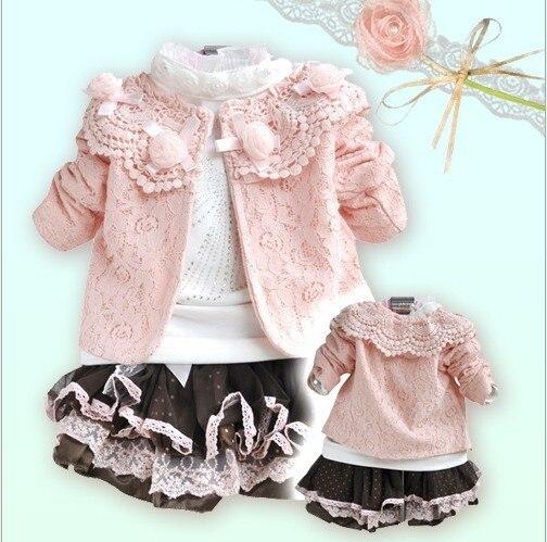 6e3d9d2f1 3PCS/SET Lovely LACE baby grils set (jacket+tshirts+dress) girls summer  clothes girl dress ZY35
