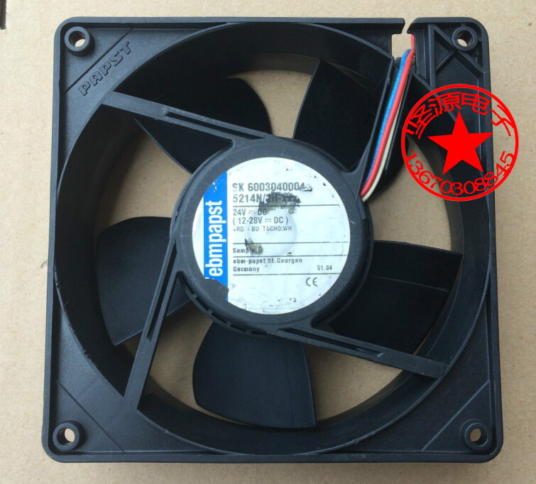 ebm papst 5214N/2H-XXX DC 24V 3-wire Server Square Fan free shipping emacro y s tech fd241225lb dc 24v 0 10a 3 wire 120mm 120x120x25mm server square fan