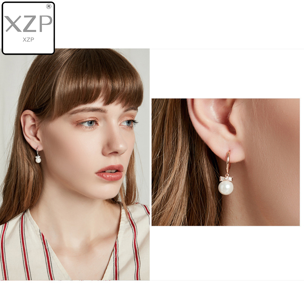 XZP 2019 Pearl Earrings Genuine Natural Freshwater Cubic Zirconia Bowknot Jewelry For Wemon Wedding Gift 04