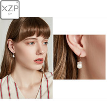 XZP 2019 Pearl Earrings Genuine Natural Freshwater Pearl Cubic Zirconia Bowknot Earrings Pearl Jewelry For Wemon Wedding Gift 04(China)