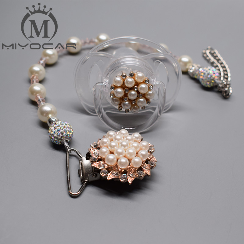MIYOCAR Beautiful Princess Pearl Pacifier Chain /pacifier Clips/Dummy Clip/Teethers Clip /pacifier Holder Chupeta