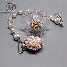 MIYOCAR Beautiful Princess pearl pacifier chain /pacifier clips/Dummy clip/Teethers clip holder chupeta