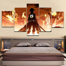 Modular Canvas Paintings Wall Art Home Decor HD Prints 5 Pieces Attack on Titan Eren Yeager Pictures Animation Posters Framework