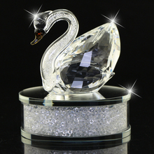 Bright Clear/Champagne Glass Crystal Swan Figurines filled with Rhines