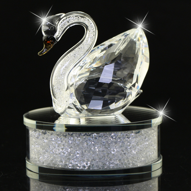 Champagne Region Interior Design Traditional Rustic: Bright Clear/Champagne Glass Crystal Swan Figurines Filled