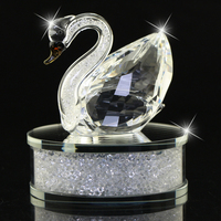 Bright Clear Champagne Crystal Glass Swan Figurines Filled With Rhinestone Home Decor Automotive Interior Christmas Gift