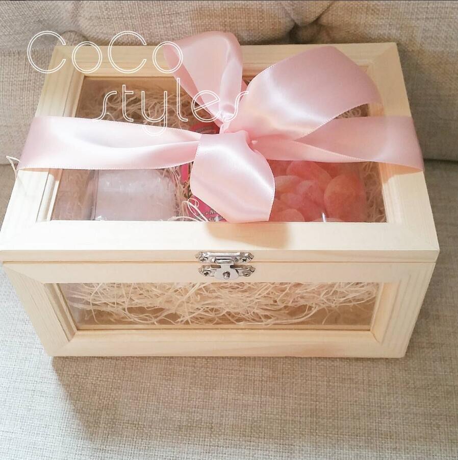 Cocostyles sur mesure blanc fantaisie lucide verre et boîte en bois avec ruban pour pelouse mariage merci boîte-cadeau