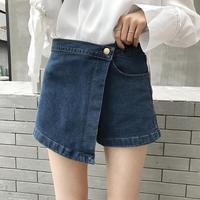 2017 Estate Donna Pantaloncini A Vita Alta Irregolare Femminile Pantaloncini di Jeans Bottoni Tasca Ragazza Shorts In Denim di Modo Sexy Mini Donna Solid