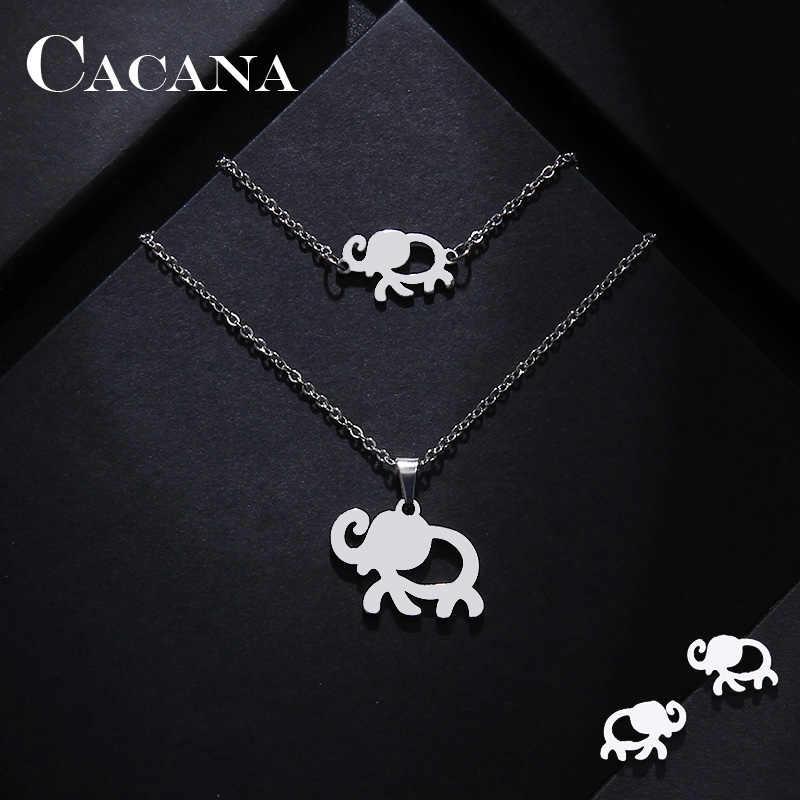 CACANA Edelstahl Sets Für Frauen Afrikanischer Elefant Form Halskette Armband Ohrring Schmuck geliebten Engagement S115