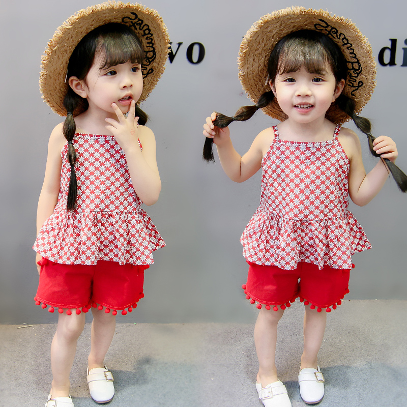 Kids Cloth Baby Girl Clothes Set Red Grid Camisole Vest Sleeveless Grils Summer Fashion Clothing Set Girls Birthday Gifts