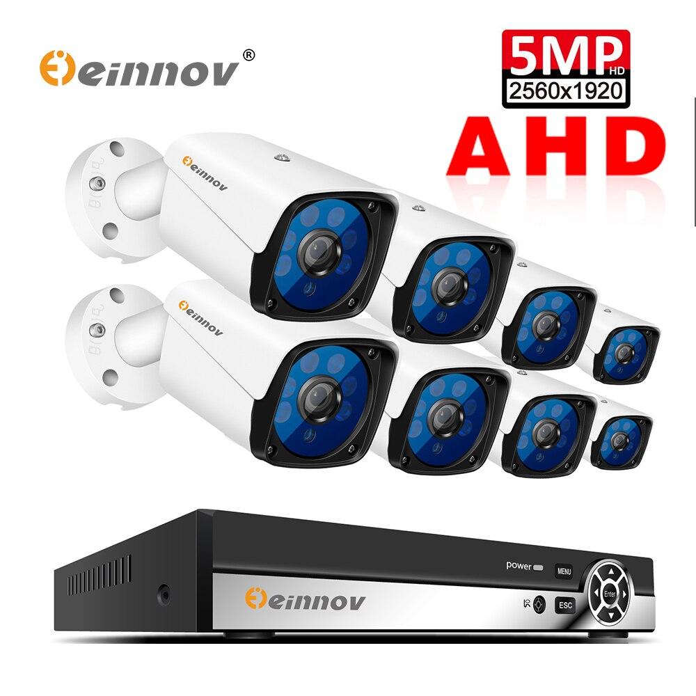 Einnov 8CH 5MP Kit de Vigilância de Vídeo Sistema de Câmera de Segurança Ao Ar Livre DVR AHD Câmera de CCTV Casa de Visão Noturna À Prova D' Água IP66 P2P