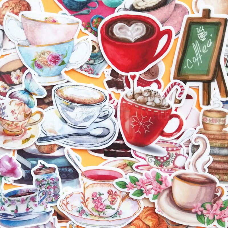 38pcs Coffee Time Coffee Drink Decoration Stationery Sticker Diy Diary Scrapbooking Label Sticker Stationery