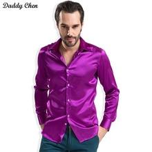 Мужские повседневные шелковая рубашка гладкая атласная Материал мужчин Slim Fit Стиль Мужской сплошной Смокинг Рубашка бизнес мода CHEMISE Homme 4xl 2017