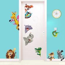 3D Animals Wall Stickers For Kids Room Decoration Diy Safari Home Decals Mural Art Lion Elephant Zebra
