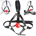 Leather head harness bondage Open mouth gag restraint solid red silicone ball Adult fetish products Sex games toys for women men