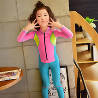 Kid Swimsuit One Piece For Girls 2018 Long Sleeve Bathing Suit Patchwork Children Swimwear Blue Pink