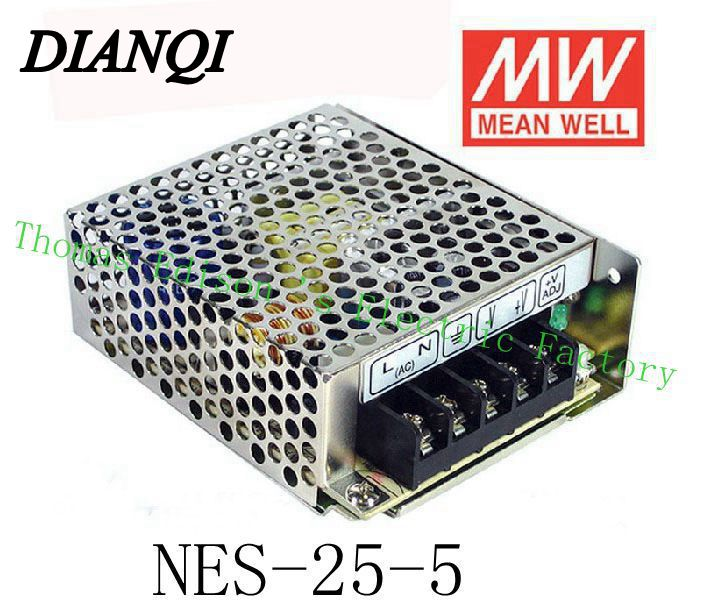 ac to dc power supply NES-25-5 Original MEAN WELL power suply unit 25W 5V 5A MEANWELL meanwell 24v 75w ul certificated nes series switching power supply 85 264v ac to 24v dc
