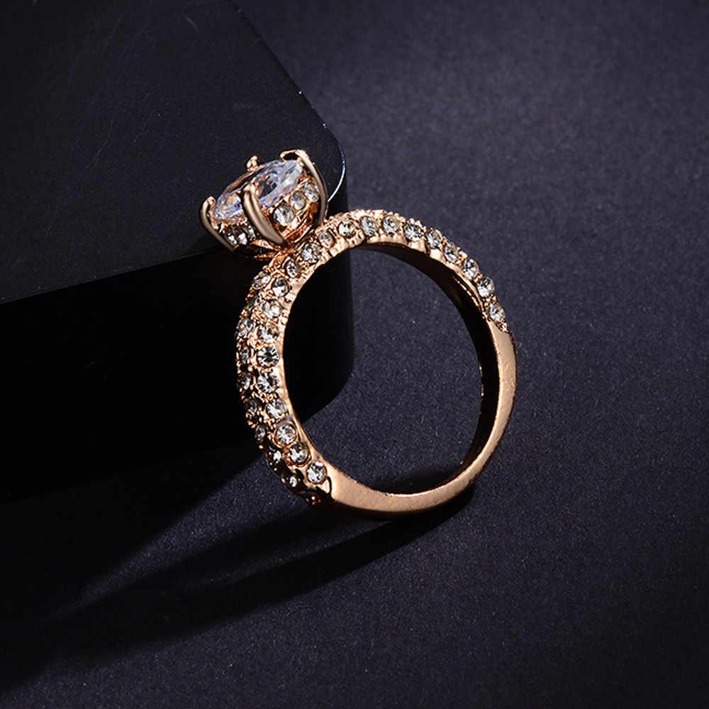 روز الذهب سحر خواتم الزفاف للنساء السيدات لامعة العقيق الأبيض زركونيا معبأ خاتم الخطوبة العروس مجوهرات هدية موهير Anillos