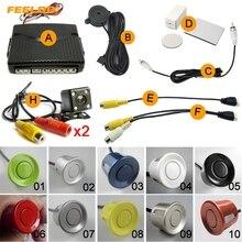 Feeldo автомобилей 6-Датчики парковка Сенсор + 2 шт. CCD 4-LED Камера двойной visual заднего вида Резервное копирование видео радар Системы 10-Цвет # am1967