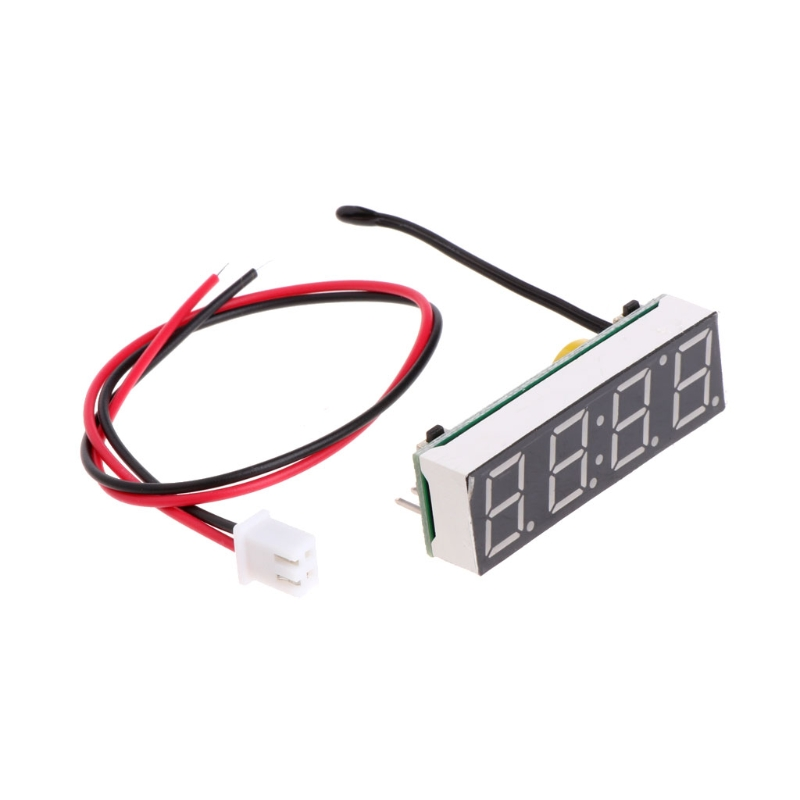 OOTDTY Digital Car LED Electronic Clock Time Temperature Voltage 3 in 1 Meter 12V 5-20V цена