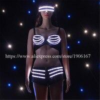 Модные светодиодный Сексуальное Женское Платье сверкающий светящийся с подсветкой брюки на мягкой подкладке бюстгальтер солнцезащитные о