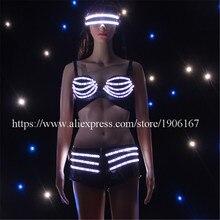 Мода привела пикантные женская обувь мигающий световой загорается одежда Брюки для девочек бюстгальтер Glassess костюм Костюмы для бальных танцев костюм Одежда для танцев LED Костюмы