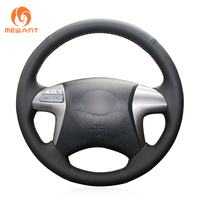 MEWANT Black Genuine Leather Car Steering Wheel Cover for Toyota Fortuner Hilux 2012 2015