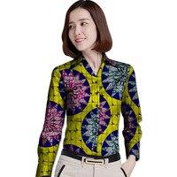 Leisure Personal Tailor Women African Print Dashiki Clothes Turndown Collar Ladies Long Sleeve Shirts Africa Clothing